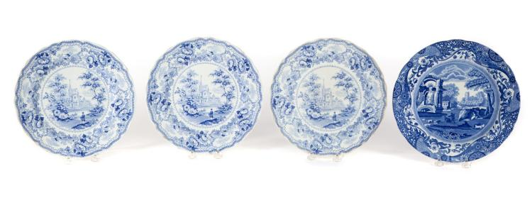 FOUR BLUE AND WHITE STAFFORDSHIRE PLATES.