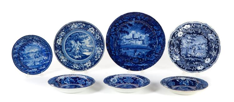 SEVEN DARK BLUE STAFFORDSHIRE PIECES.
