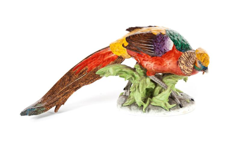 DRESDEN HAND PAINTED PHEASANT.