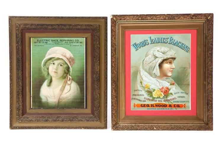 TWO FRAMED CHROMOLITHOGRAPH LADIES'' ADVERTISING PRINTS.