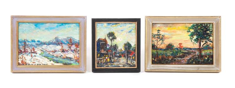 THREE FRAMED OIL ON BOARD PAINTINGS SIGNED S. PRATT (SAMUEL PRATT, 1903-1999).
