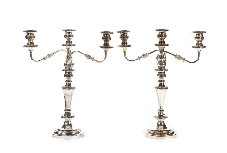 PAIR OF SILVER PLATE CANDELABRAS.