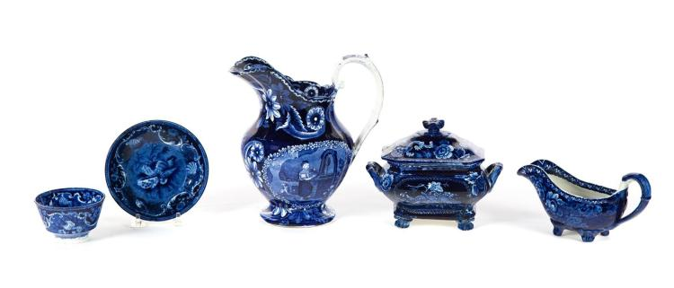 FOUR PIECES OF HISTORICAL BLUE STAFFORDSHIRE.
