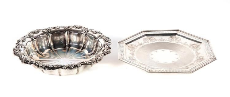 TWO STERLING SILVER SERVING DISHES.