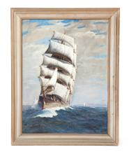 FRAMED OIL ON CANVAS SEASCAPE SIGNED T. BAILEY.