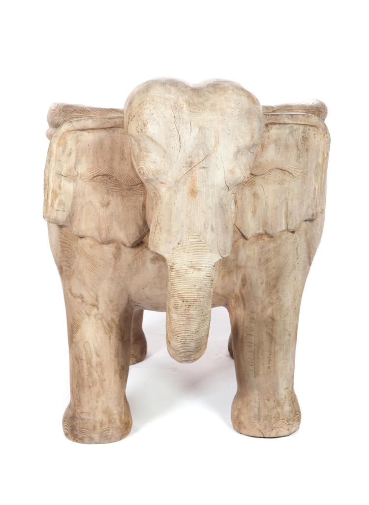 CARVED HARD WOOD ELEPHANT CHAIR.