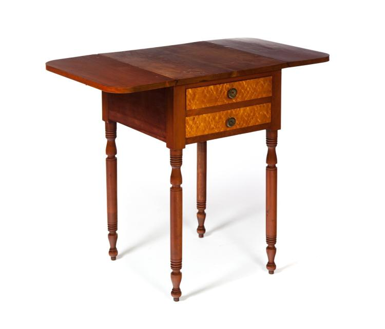 LATE-SHERATON TWO-DRAWER DROP LEAF WORK TABLE.