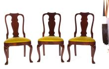 SET OF SIX HICKORY CHAIR COMPANY QUEEN ANNE-STYLE DINING CHAIRS.
