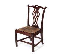 CHIPPENDALE SIDE CHAIR WITH RUSH SLIP SEAT.