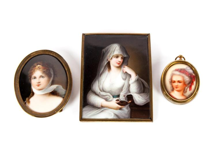 THREE MINIATURE PAINTINGS ON PORCELAIN.