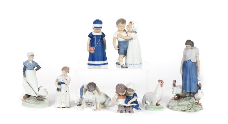 EIGHT DANISH PORCELAIN FIGURINES.