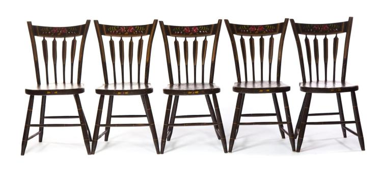 FIVE FULL ARROWBACK CHAIRS WITH PAINT DECORATION.