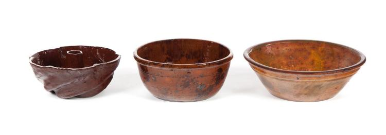 THREE PIECES OF REDWARE.