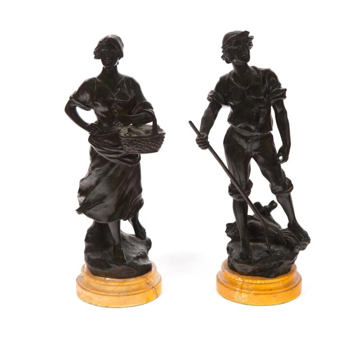 PAIR OF BRONZE FIGURES AFTER E. DROUOT.