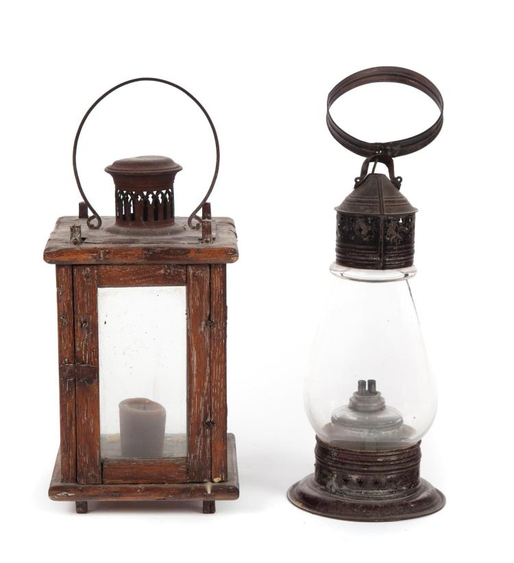TWO PRIMITIVE LANTERNS.