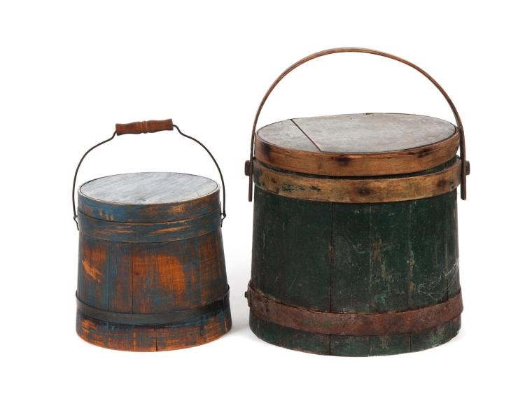 TWO PAINTED LIDDED FIRKINS.