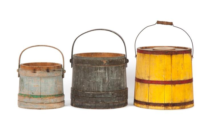 THREE PAINTED BUCKETS.