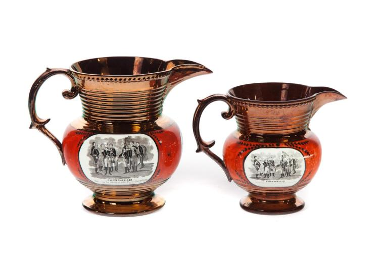 TWO COPPER LUSTRE PITCHERS WITH LAFAYETTE TRANSFERS.