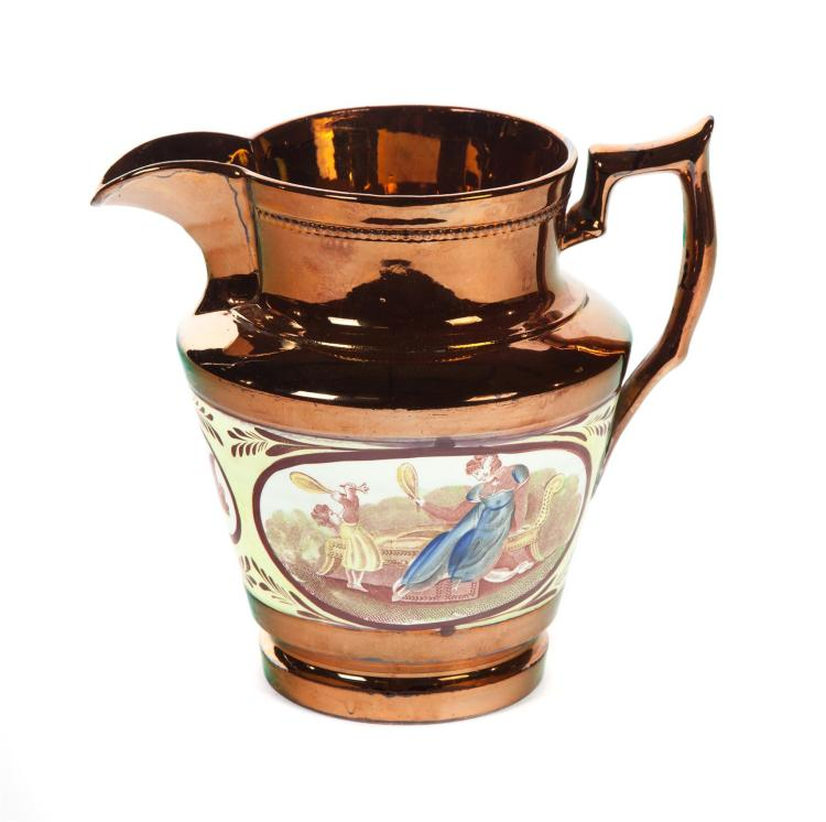 COPPER LUSTRE PITCHER WITH CANARY BAND.