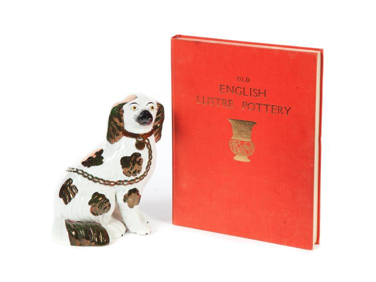 TWO PIECES: SPANIEL WITH COPPER LUSTRE DECORATION AND