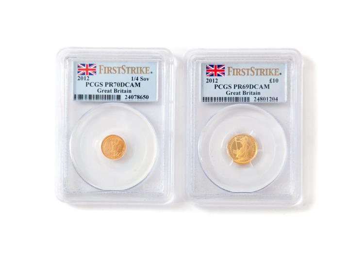 TWO BRITISH GOLD COINS.