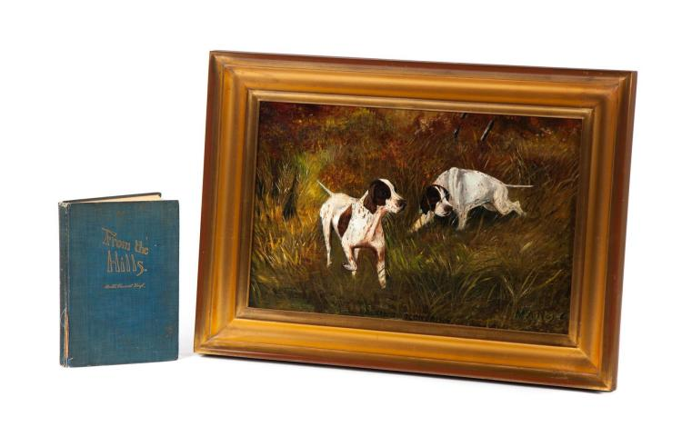 PAINTING OF TWO HUNTING DOGS SIGNED M.A. HOYT.