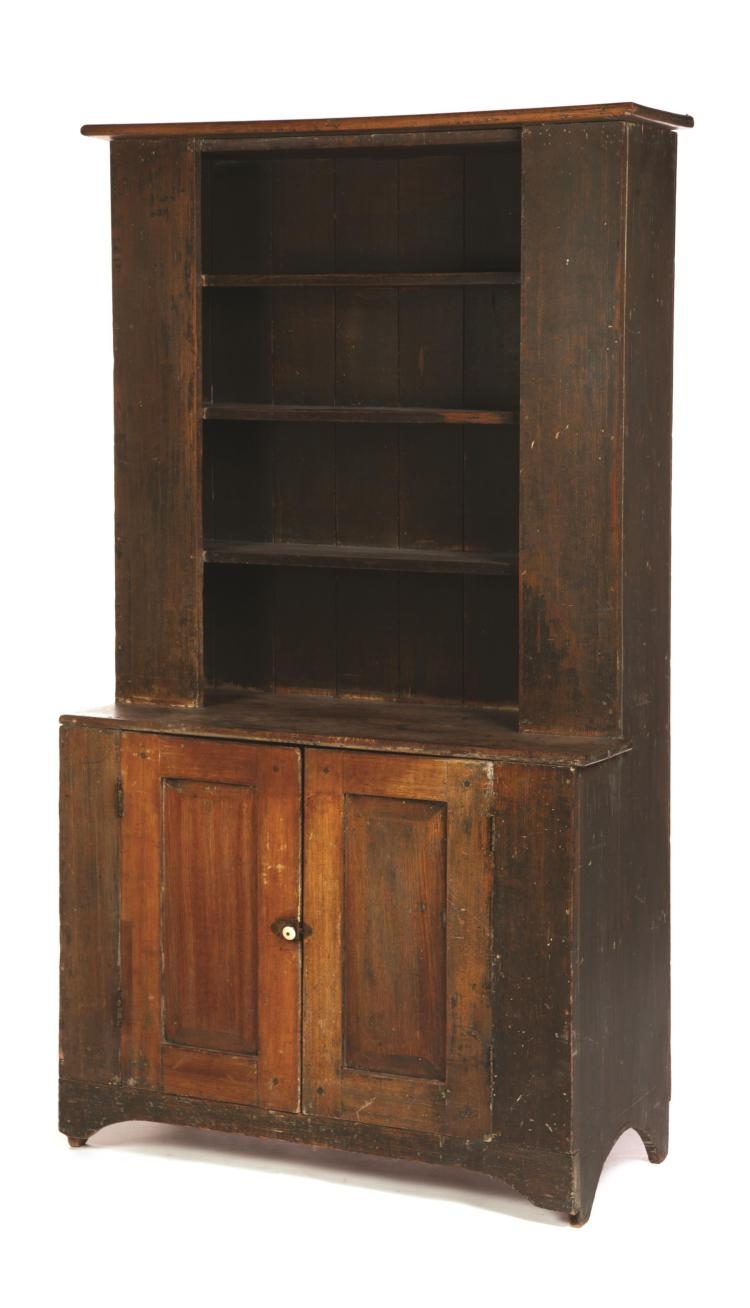 PRIMITIVE PAINTED COUNTRY ONE-PIECE STEPBACK CUPBOARD.