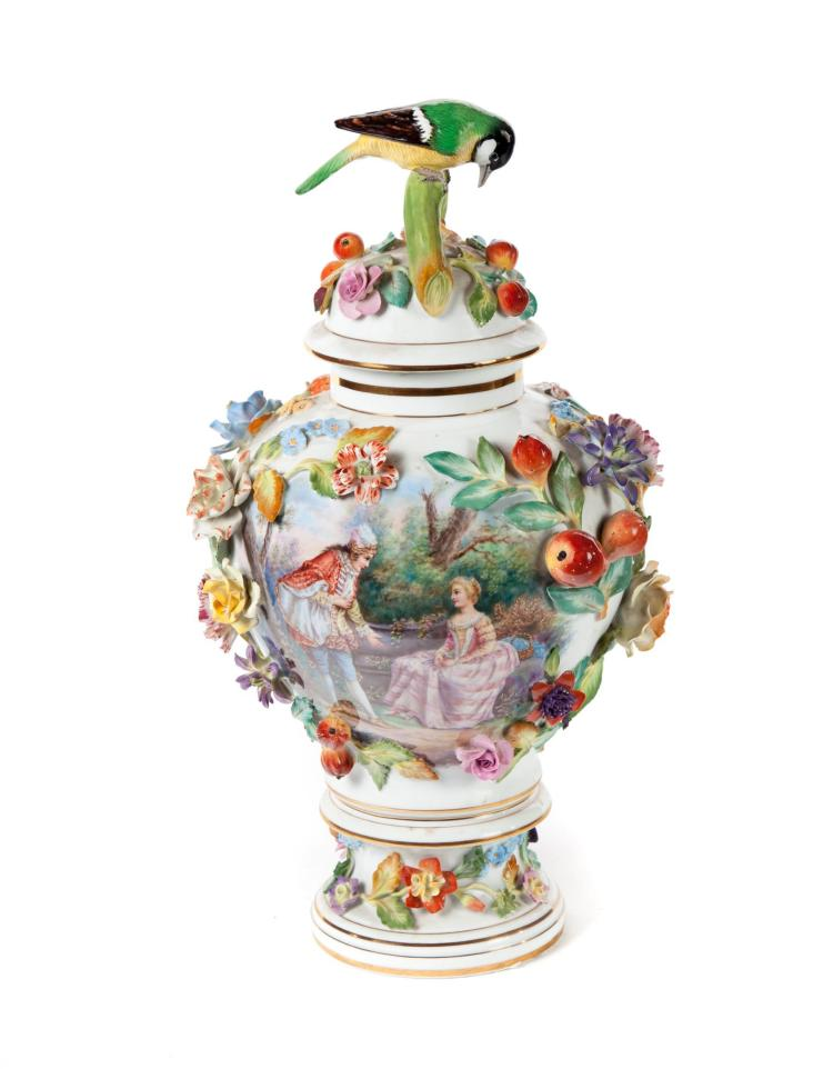 DRESDEN HAND PAINTED COVERED URN.
