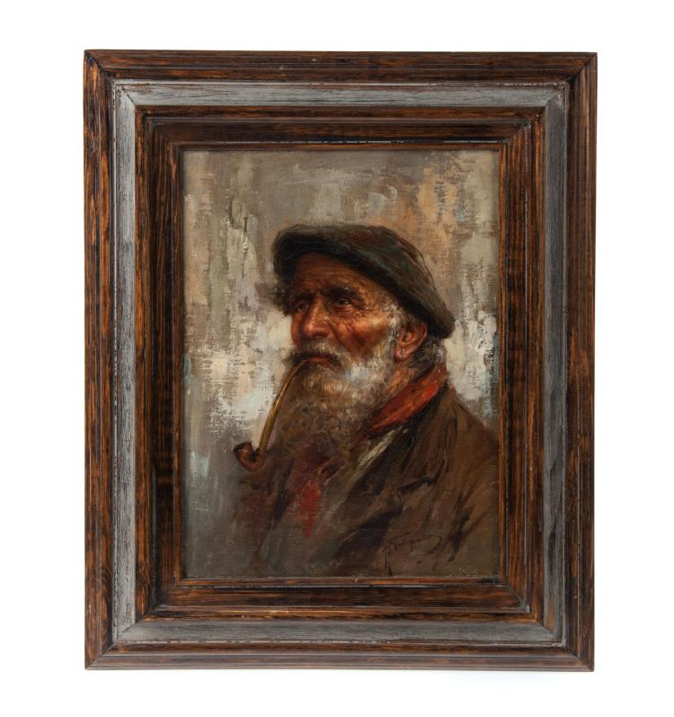 FRAMED OIL ON CANVAS OF AGED GENTLEMAN ARTIST SIGNED.