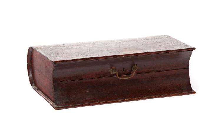 NINETEENTH CENTURY PAINT DECORATED BIBLE BOX.