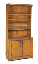 PRIMITIVE COUNTRY ONE-PIECE PAINTED OPEN STEPBACK CUPBOARD.