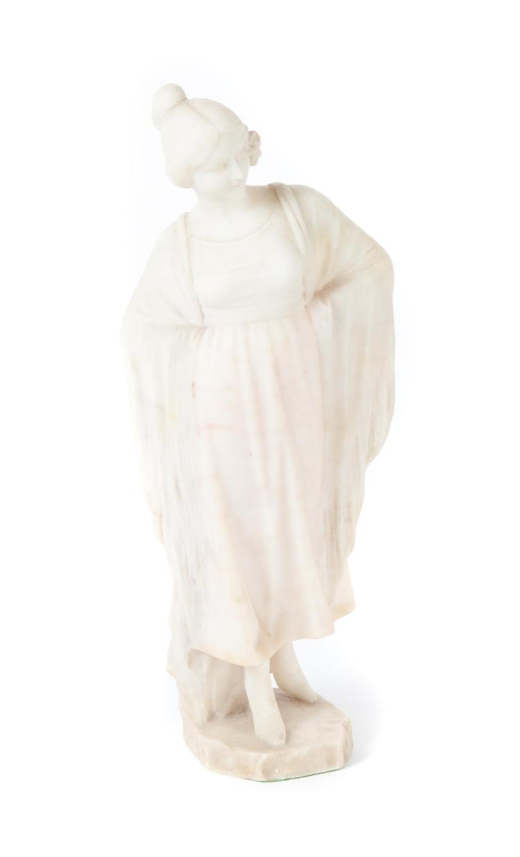 ALABASTER SCULPTURE OF A FLAPPER LADY.