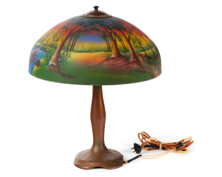 REVERSE PAINTED TABLE LAMP MARKED