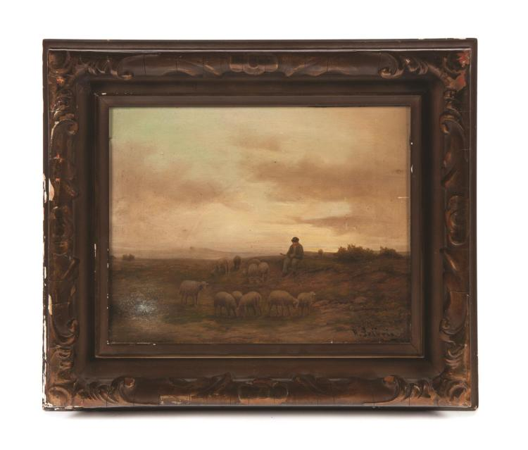 FRAMED OIL ON BOARD LANDSCAPE PASTORAL SCENE TITLED
