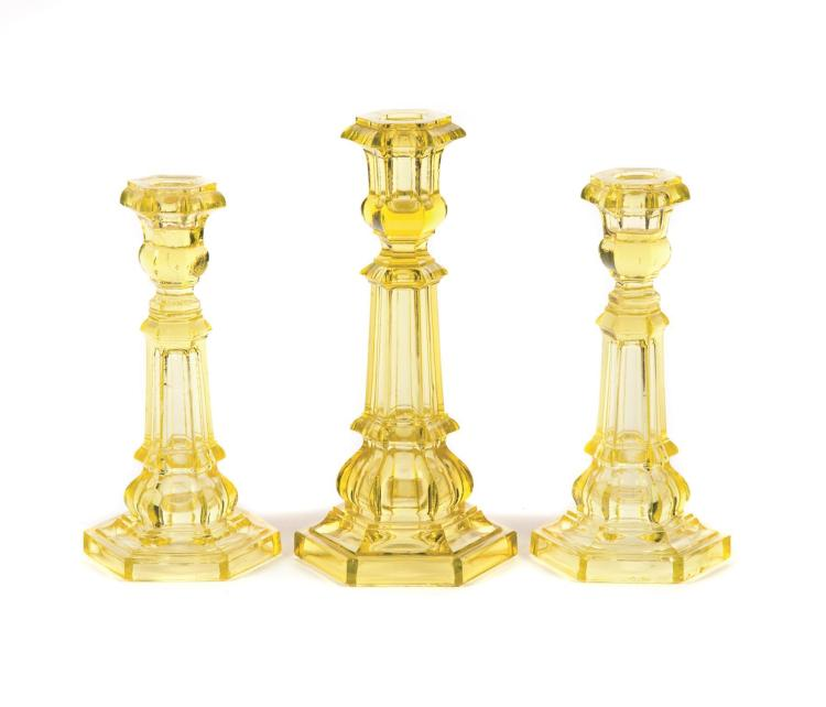 THREE PITTSBURGH CANARY CANDLESTICKS.