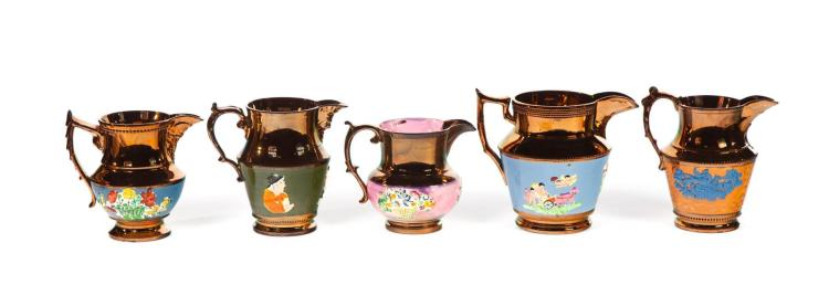 FIVE COPPER LUSTRE PITCHERS.
