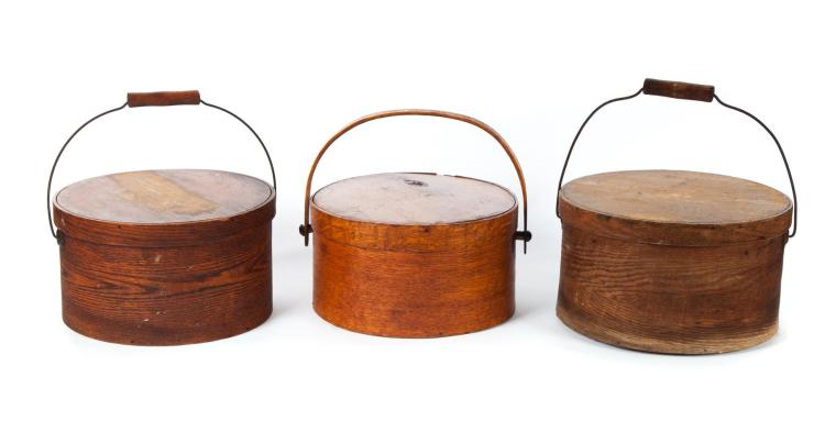 THREE HANDLED BENTWOOD PANTRY BOXES.