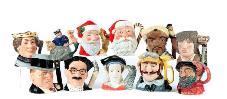 ELEVEN ROYAL DOULTON CHARACTER JUGS INCLUDING SANTA CLAUS.