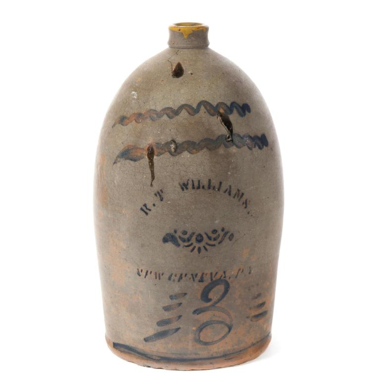STENCILED AND FREEHAND COBALT DECORATED STONEWARE THREE-GALLON JUG.