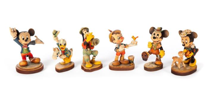 SIX ANRI WOOD CARVED DISNEY-THEMED FIGURES.