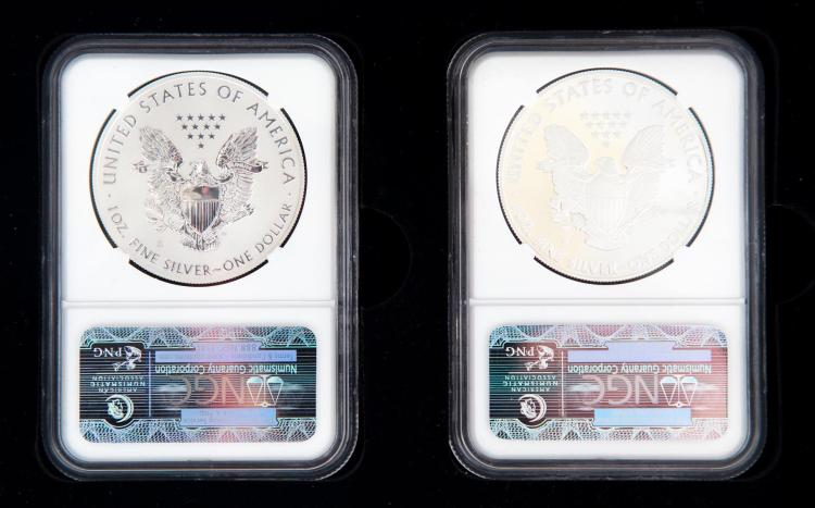 TWO 2012-S SILVER EAGLES.