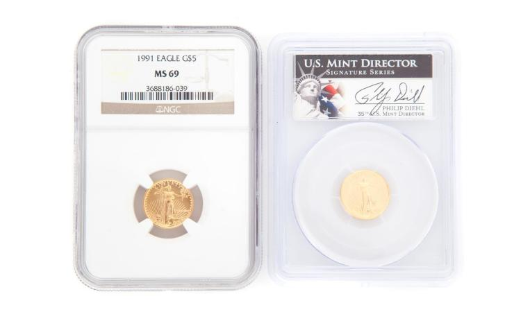 TWO GOLD AMERICAN COINS.
