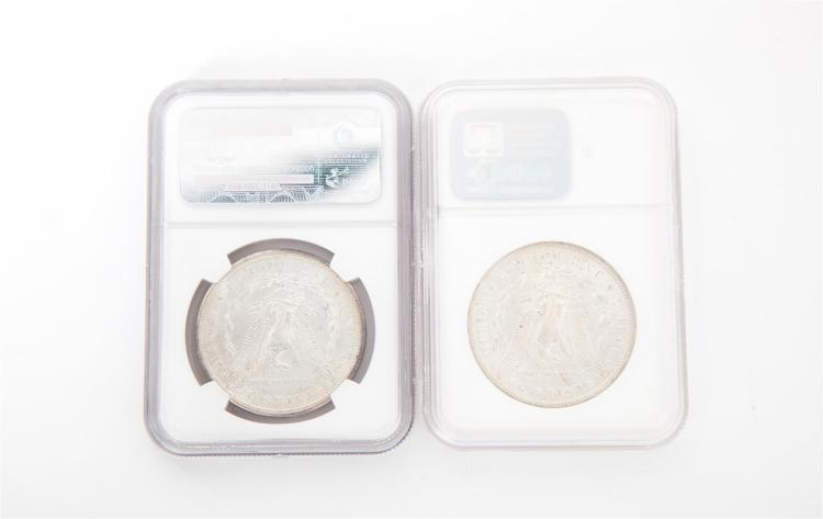TWO MORGAN SILVER DOLLARS.