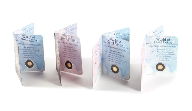 FOUR WORLD OF GOLD COINS PASSPORTS.