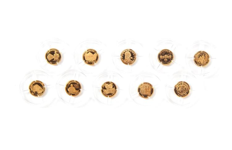 TEN MINIATURE GOLD COINS.