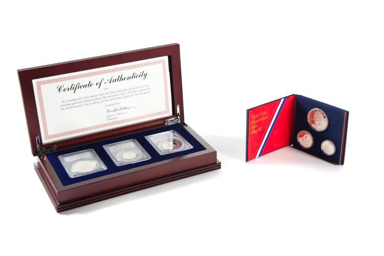 TWO SILVER PROOF COIN SETS.