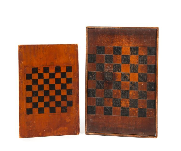 TWO PRIMITIVE COUNTRY GAMEBOARDS.