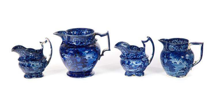 FOUR HISTORICAL BLUE PITCHERS