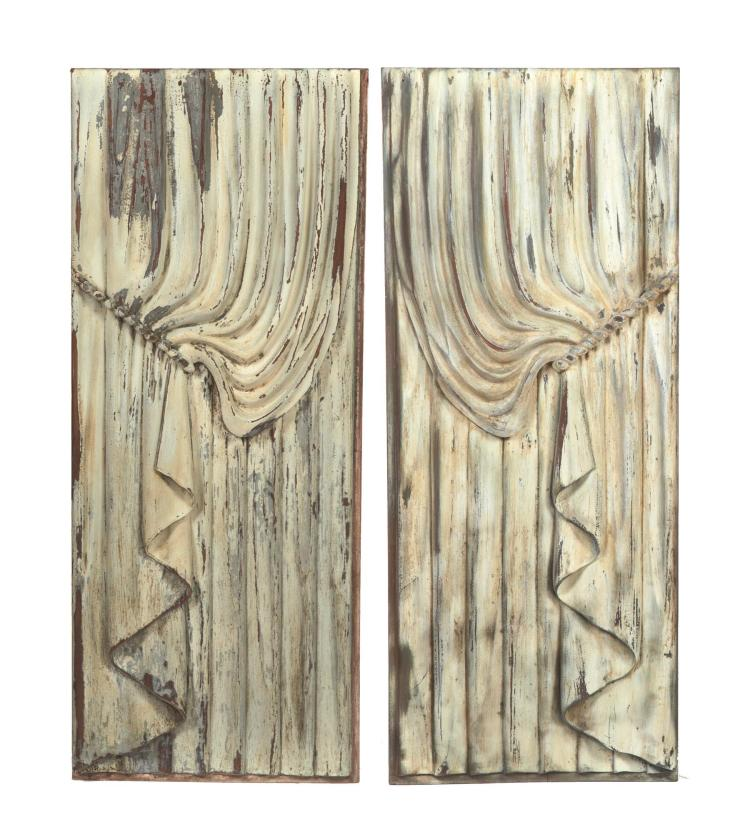 PAIR OF CARVED PANELS FROM A HORSE-DRAWN HEARSE.