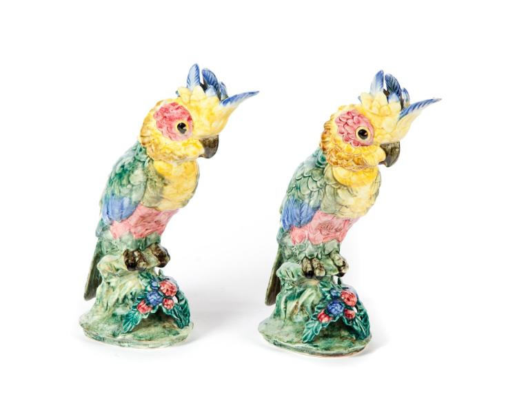 PAIR OF STANGL POTTERY PARROTS.